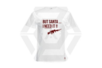 Daft Donkey Christmas T-Shirt 'Santa I NEED It Sniper' (White) - Size Large