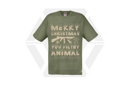 Daft Donkey Christmas T-Shirt 'Merry Christmas You Filthy Animal' (Olive) - Size Extra Large