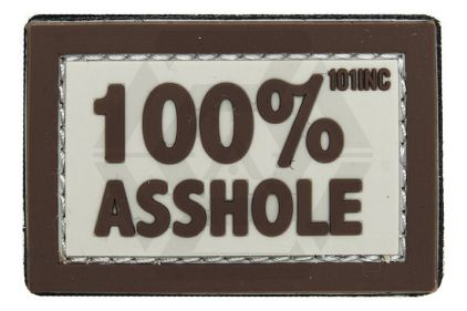 "101 Inc PVC Velcro Patch ""100% Asshole"" (Brown)"