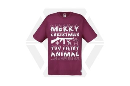 Daft Donkey Christmas T-Shirt 'Merry Christmas You Filthy Animal' (Burgundy) - Size Extra Large