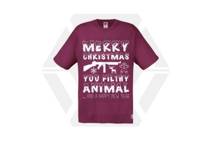 Daft Donkey Christmas T-Shirt 'Merry Christmas You Filthy Animal' (Burgundy) - Size Small - £19.95