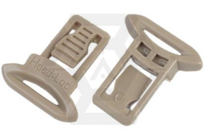 FMA Helmet Clips for Goggle & Mask Straps (Tan) © Copyright Zero One Airsoft