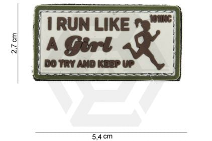 "101 Inc PVC Velcro Patch ""I Run Like"" (Brown)"