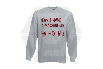 Daft Donkey Christmas Jumper 'Bloody Ho Ho Ho' (Light Grey) - Size Small