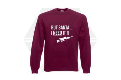 Daft Donkey Christmas Jumper 'Santa I NEED It Sniper' (Burgundy) - Size Small
