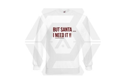 Daft Donkey Christmas Jumper 'Santa I NEED It' (White) - Size Extra Extra Large