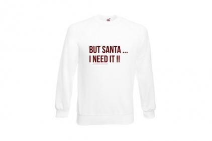 Daft Donkey Christmas Jumper 'Santa I NEED It' (White) - Size Extra Extra Large
