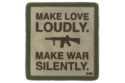 """101 Inc PVC Velcro Patch """"Make Love Loudly"""" © Copyright Zero One Airsoft"""