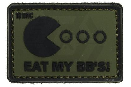"101 Inc PVC Velcro Patch ""Eat My BB's"" (Olive) © Copyright Zero One Airsoft"