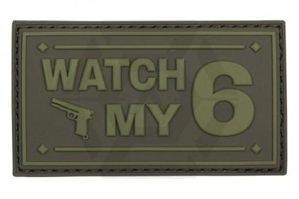 """101 Inc PVC Velcro Patch """"Watch My 6"""" (Olive)"""