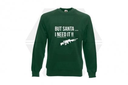 Daft Donkey Christmas Jumper 'Santa I NEED It Sniper' (Green) - Size Extra Large