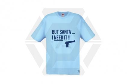 Daft Donkey Christmas T-Shirt 'Santa I NEED It Pistol' (Blue) - Size Extra Large © Copyright Zero One Airsoft