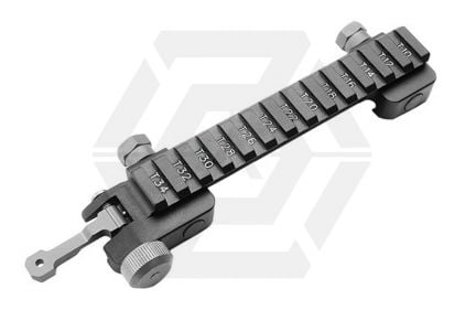 G&G Optic Mount Riser Base for 20mm RIS & M4 Flat-Top Receiver with Integral Flip-Up Rear Sight