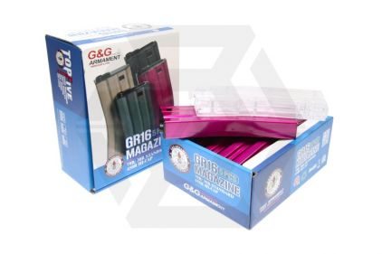 G&G AEG Mag for M4 30rds Box of 5 (Pink) with Speedloader