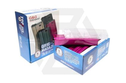 G&G AEG Mag for M4 450rds Box of 5 (Pink) with Speedloader