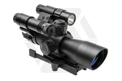 NCS 4x32 Blue/Green Illuminating Total Targeting System with P4 Sniper Reticule & QR Mount © Copyright Zero One Airsoft
