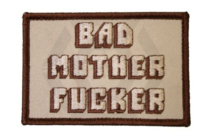 """Bad Mother Fu****"" Velcro Patch (Tan)"