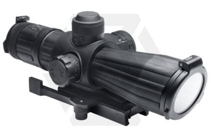 NCS 4x32 Rubber Armoured Blue Illuminating Scope with Integrated Laser & QR Mount © Copyright Zero One Airsoft