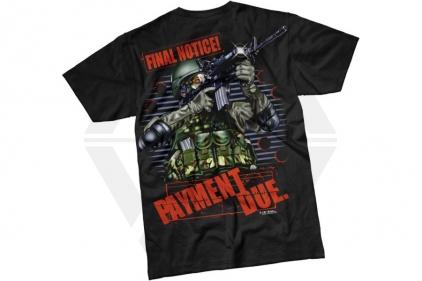 7.62 Design T-Shirt 'Final Notice: Payment Due' (Black) - Size Large