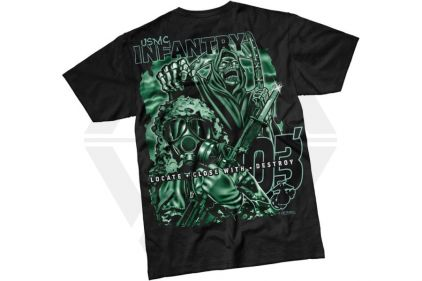 7.62 Design T-Shirt 'USMC Infantry Reaper' (Black) - Size Large