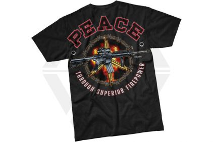 7.62 Design T-Shirt 'Peace Through Superior Firepower' (Black) - Size Medium