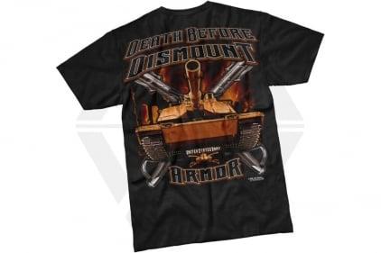 7.62 Design T-Shirt 'Death Before Dismount' (Black) - Size Medium © Copyright Zero One Airsoft