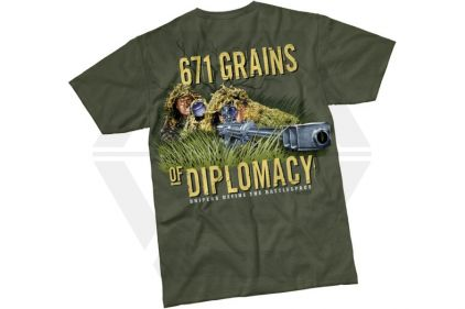 7.62 Design T-Shirt '671 Grains of Diplomacy' (Olive) - Size Medium