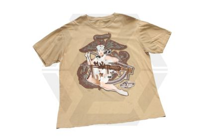 7.62 Design T-Shirt 'Grunt Girl' (Tan) - Size Extra Large