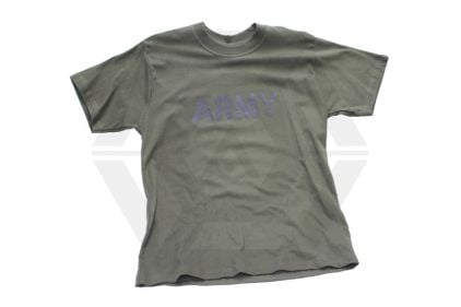 "Mil-Com T-Shirt Marked ""ARMY"" (Olive) - Size Large"