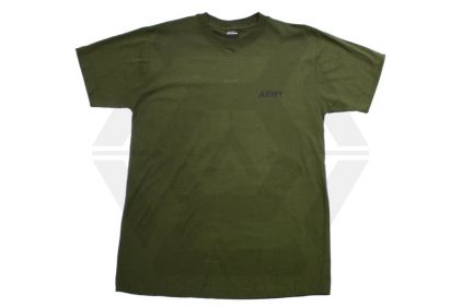"Mil-Com T-Shirt Marked Small ""ARMY"" (Olive) - Size Large"