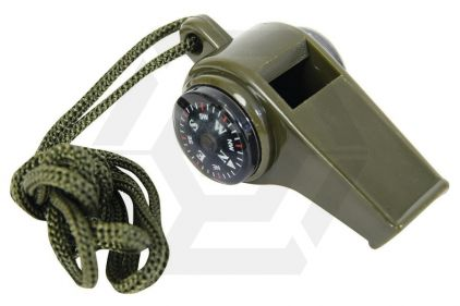 Mil-Com Plastic Whistle on Lanyard (Olive)