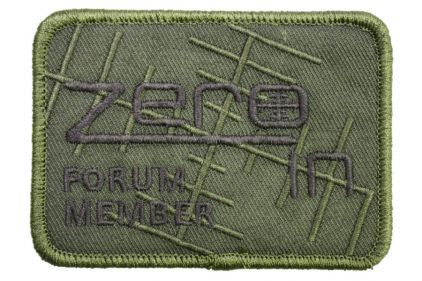 "Zero One Airsoft Embroidered Velcro Patch ""Zero In Forum Member"" (Olive)"