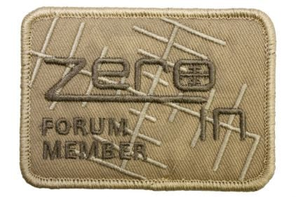 "Zero One Airsoft Embroidered Velcro Patch ""Zero In Forum Member"" (Tan) © Copyright Zero One Airsoft"